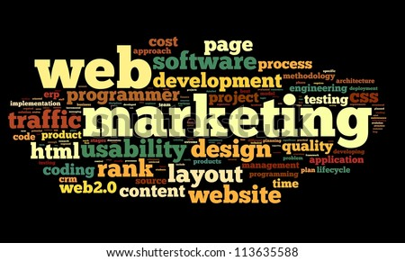 Web marketing concept in word cloud on black background - stock photo