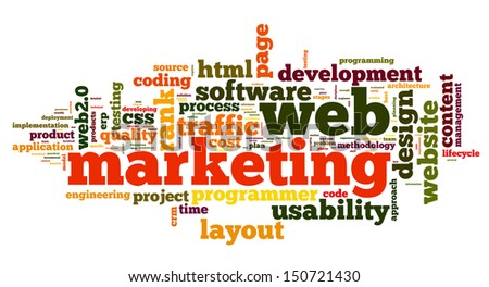 Web marketing concept in word cloud on white background - stock photo