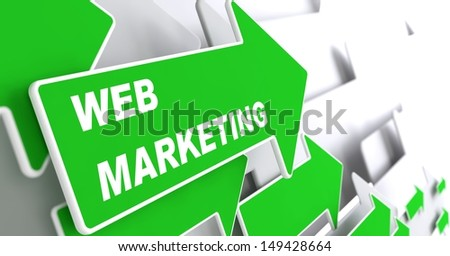"Web Marketing - Internet Concept. Green Arrow with ""Webinar"" slogan on a grey background. 3D Render. - stock photo"