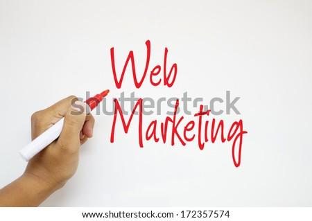 Web Marketing sign on whiteboard - stock photo