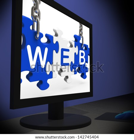 Web On Monitor Shows Online Searching Or Website Information