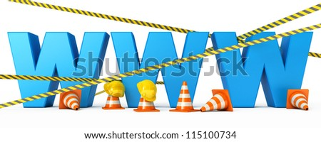 Web page is under construction. Icon isolated on white background. 3d render - stock photo