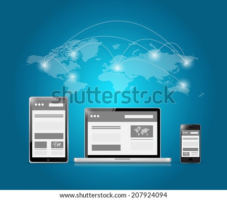 web platforms and world connection illustration design over a blue background - stock photo
