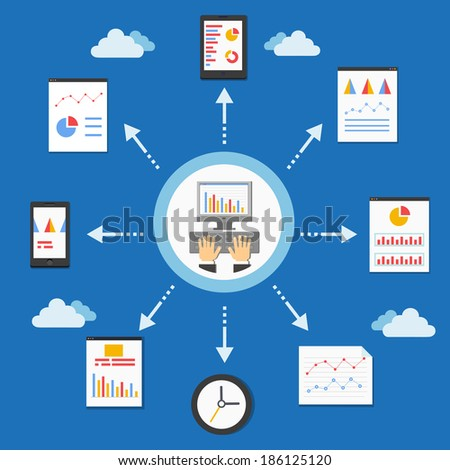 web programming and analytics graph in flat style illustration - stock photo