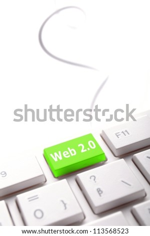 web 2 0 rss or blog concept with internet computer key on keyboard