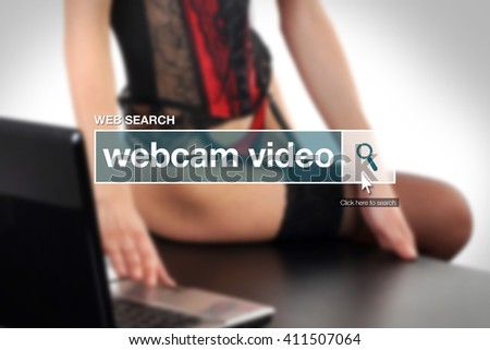 Web search bar glossary term - webcam porn video definition in internet glossary. - stock photo