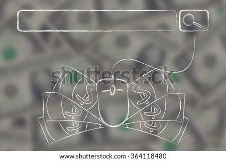 web search bar with computer mouse and cash on blurred dollar background - stock photo