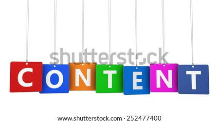 Web, seo and online marketing concept with content sign and text on colorful hanged tags isolated on white background. - stock photo