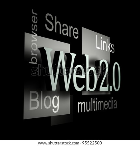 Web 2.0 silver - stock photo