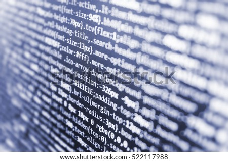 Web site codes on computer monitor. Abstract screen of software. Programmer occupation job. Notebook closeup photo. Binary digits code editing. Server logs analysis. PC software creation business.