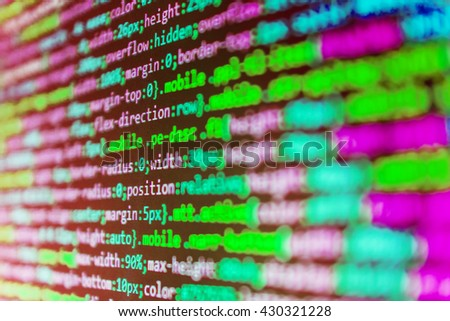 Web site codes on computer monitor. Software source code. Monitor photo.  Website codes on computer monitor. Source code photo. Programmer developer screen.  Writing programming code on laptop.