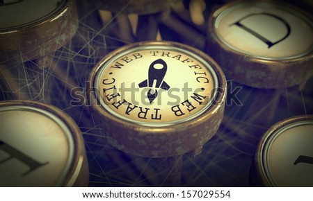 Web Traffic Button on Old Typewriter. Internet Concept. Grunge Background for Your Publications. - stock photo