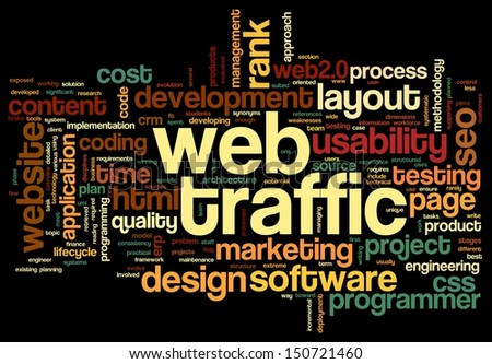 Web traffic concept in word tag cloud on black - stock photo