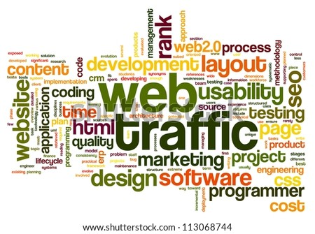 Web traffic concept in word tag cloud on white - stock photo