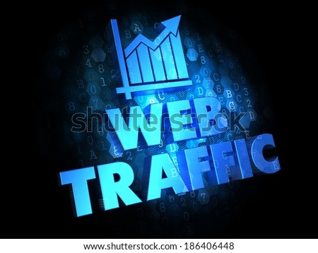 Web Traffic. Growth Concept. Blue Color Text on Dark Digital Background. - stock photo