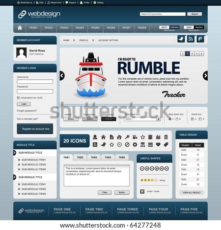 Web Website Element Design Template Blue - stock photo