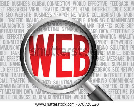 WEB word cloud with magnifying glass, business concept - stock photo