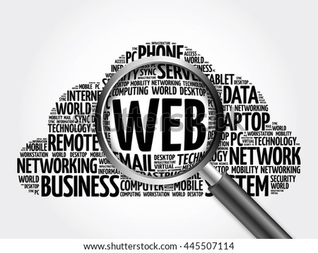 WEB word cloud with magnifying glass, business concept 3D illustration - stock photo