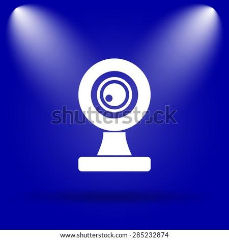 Webcam icon. Flat icon on blue background.  - stock photo