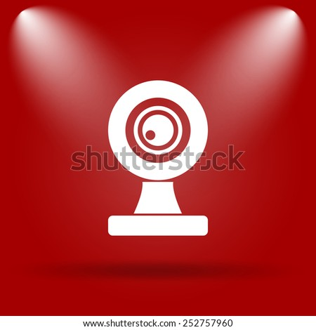 Webcam icon. Flat icon on red background.  - stock photo