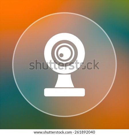 Webcam icon. Internet button on colored  background.  - stock photo