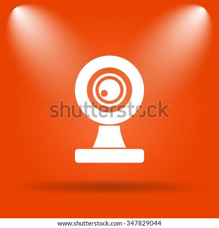 Webcam icon. Internet button on orange background.  - stock photo