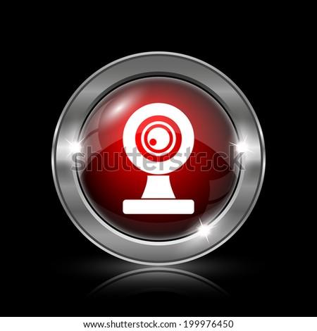 Webcam icon. Metallic internet button on black background.  - stock photo