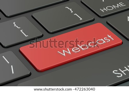 webcast, red hot key on the keyboard , 3D rendering