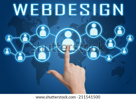 Webdesign concept with hand pressing social icons on blue world map background. - stock photo