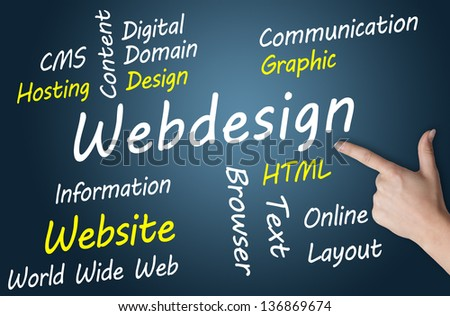 Webdesign wordcloud concept illustration on blue-grey background