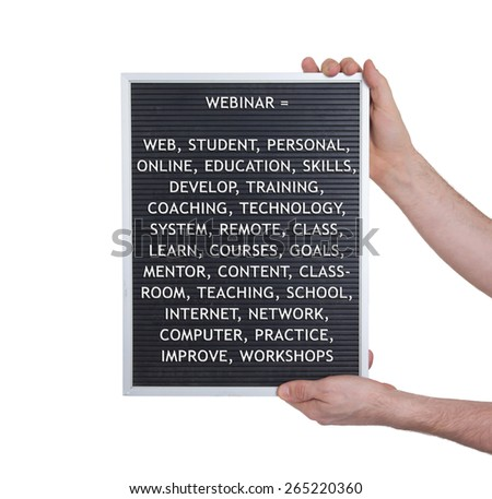 Webinar concept in plastic letters on very old menu board, vintage look - stock photo