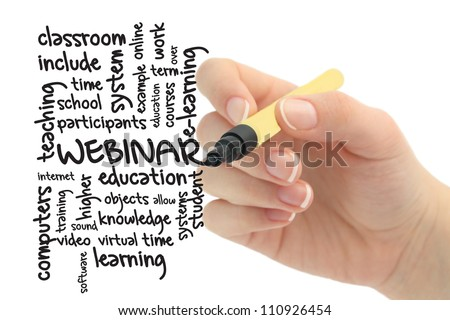Webinar concept in word tag cloud - stock photo