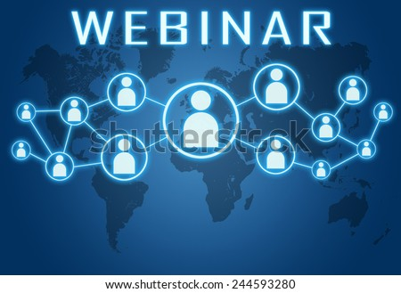 Webinar concept on blue background with world map and social icons. - stock photo