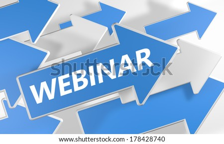 Webinar 3d render concept with blue and white arrows flying upwards over a white background. - stock photo