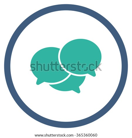 Webinar glyph icon. Style is bicolor flat circled symbol, cobalt and cyan colors, rounded angles, white background. - stock photo