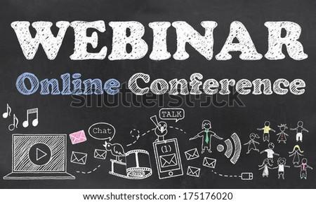 Webinar Online Conference with Chalk on Blackboard - stock photo