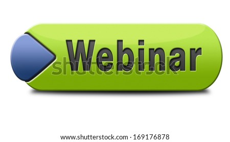 webinar online internet web conference meeting or workshop live video chat - stock photo