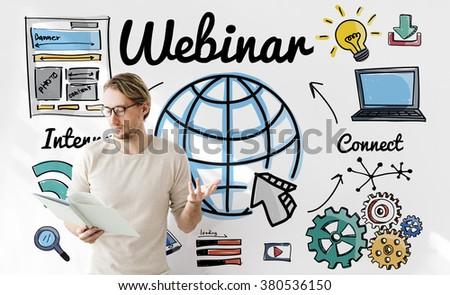 Webinar Online Technology E-Learning Web Concept - stock photo