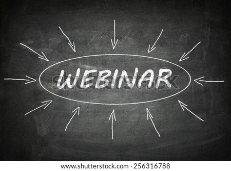 Webinar process information concept on black chalkboard. - stock photo