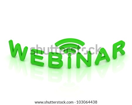webinar sign with the antenna with green letters on white background