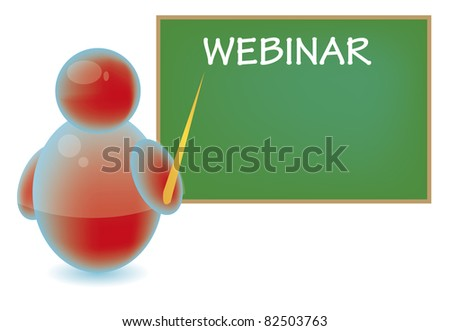 Webinar teacher using a blackboard