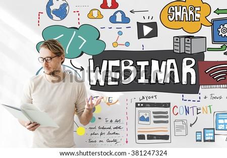 Webinar Technology Computer E-learning Online Concept - stock photo