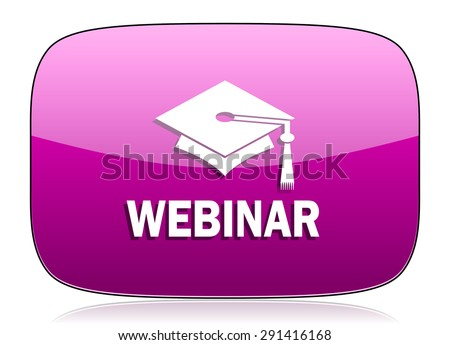 webinar violet icon  original modern design for web and mobile app on white background with reflection  - stock photo
