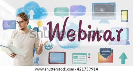 Webinar Website Online Internet Networking Concept - stock photo