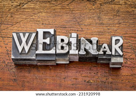webinar word in vintage metal type printing blocks over grunge wood, mixed fonts in style and size - stock photo
