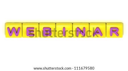 Webinar word on yellow squares on white background - stock photo