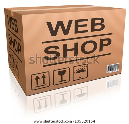 webshop cardboard box package with online order from internet web shop, shopping icon ecommerce - stock photo