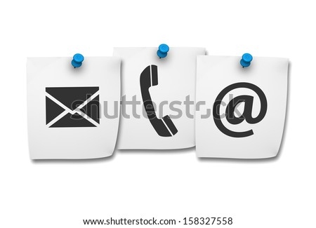 Website and Internet contact us page concept with black icons on paper post it isolated on white background. - stock photo