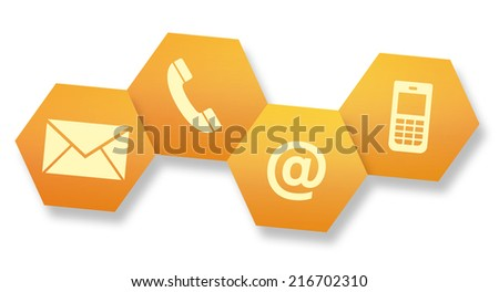 Website and Internet contact us page concept with icons on white background - stock photo