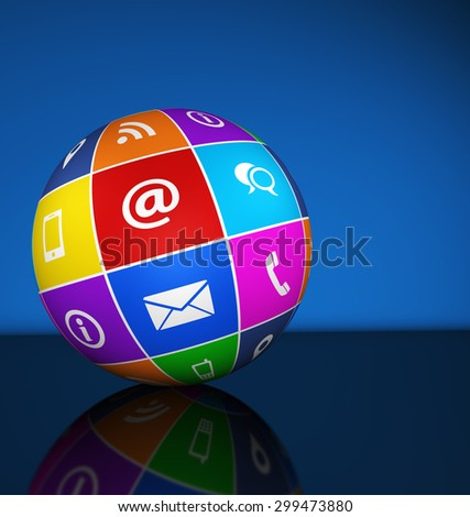 Website and Internet contact us web icons and symbol on a colorful globe for blog and online business illustration with copy space on blue background. - stock photo